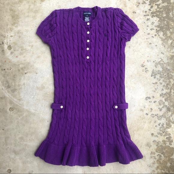 Ralph Lauren Other - Ralph Lauren cableknit sweater dress cotton purple
